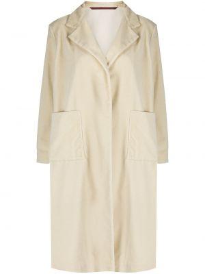 Бархатное белое пальто с карманами Daniela Gregis