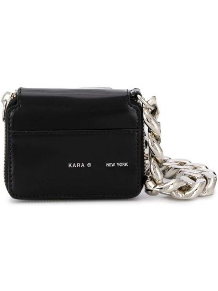 Черная сумка на цепочке круглая Kara
