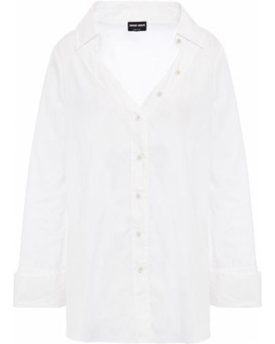 Хлопковая белая рубашка с манжетами Giorgio Armani