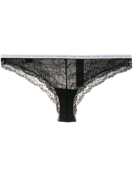 Ажурные нейлоновые черные кружевные трусы со вставками Calvin Klein Underwear
