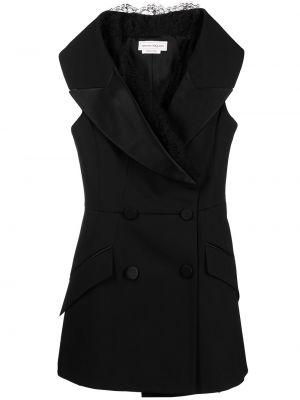 Черный пиджак двубортный без рукавов Alexander Mcqueen