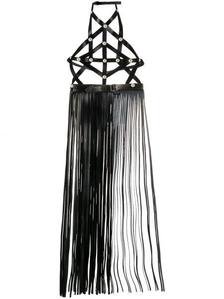 Кожаный черный ремень с бахромой с вырезом Manokhi