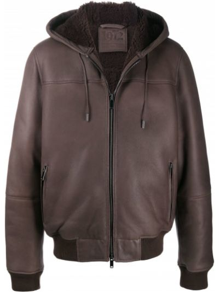 Кожаная коричневая куртка с капюшоном на молнии в рубчик Desa 1972