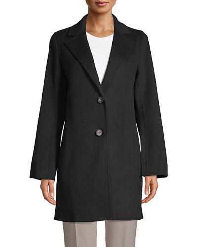 Шерстяное длинное пальто с карманами с лацканами T-tahari