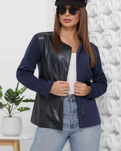 Кожаный пиджак - синий Marse