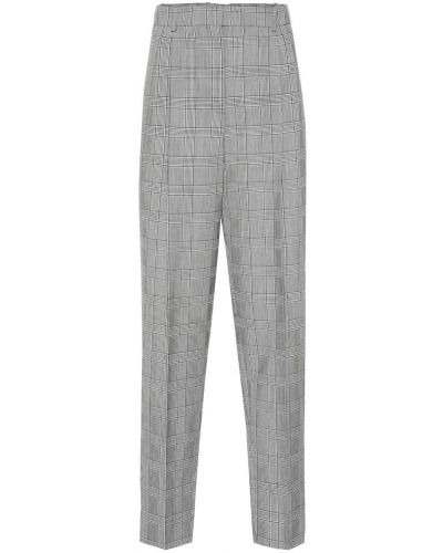 Wełniany szary prosto spodnie pled Givenchy