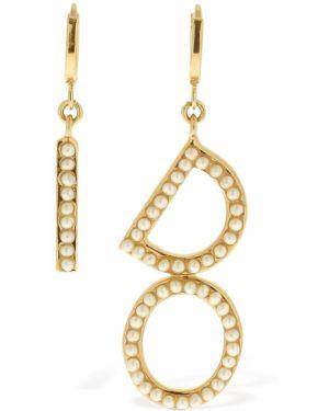 Złote kolczyki sztyfty perły Bijoux De Famille