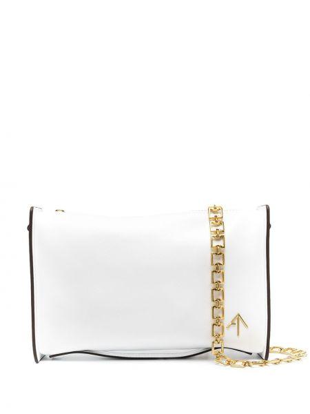 Кожаная белая косметичка с карманами Manu Atelier