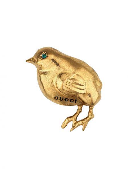 Złota broszka - żółta Gucci