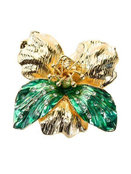 Zielony broszka z ozdobnym wykończeniem Pinko
