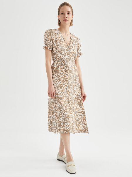 Бежевое платье мини с запахом с вырезом Defacto