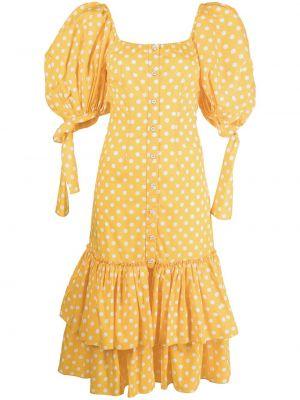 Платье миди в горошек - желтое Caroline Constas