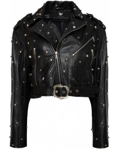 Черная кожаная куртка на молнии Maison Bohemique