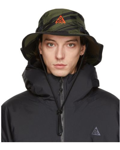 Czarny kapelusz z haftem z nylonu Nike Acg