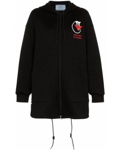 Куртка с капюшоном черная оверсайз Prada