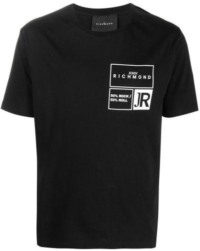 Прямая хлопковая черная футболка John Richmond
