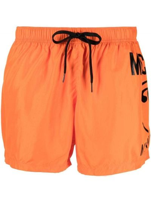 Оранжевые пляжные плавки-боксеры с карманами Moschino