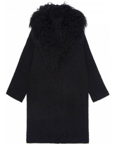 Шерстяное черное пальто с воротником Chapurin