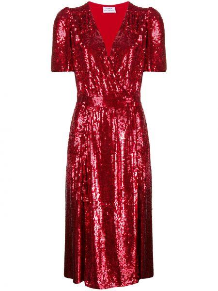 С рукавами красное платье с V-образным вырезом P.a.r.o.s.h.