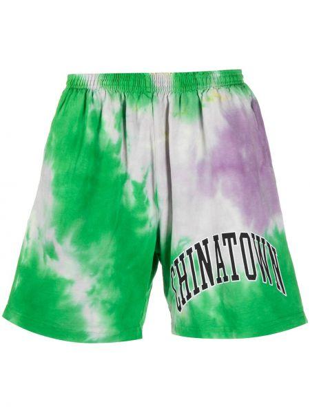 Zielone szorty bawełniane z printem Chinatown Market