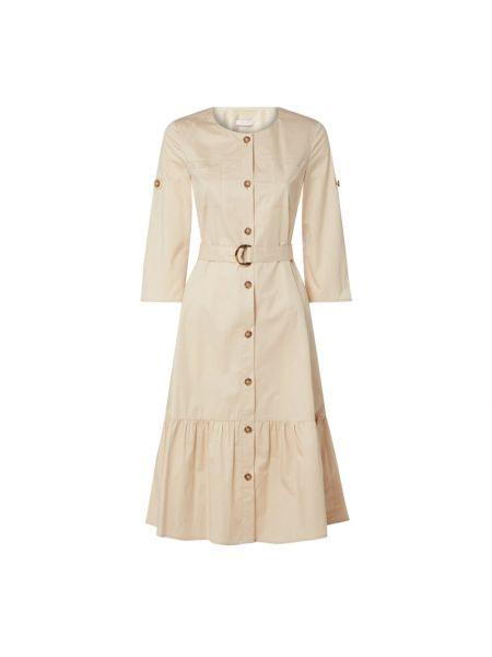 Biała sukienka rozkloszowana z paskiem Riani