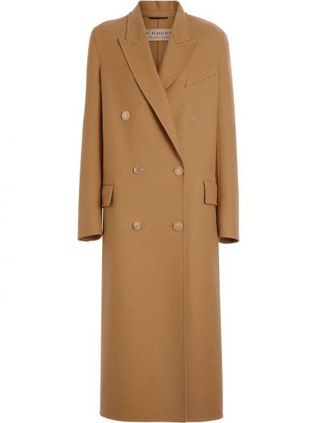 Długi płaszcz wełniany podwójnie Burberry
