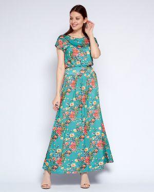 С рукавами летнее платье с кокеткой с вырезом круглое Fiato