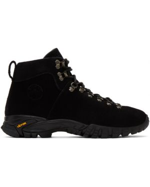 Черные сапоги с высоким голенищем на шнуровке на каблуке металлические Diemme
