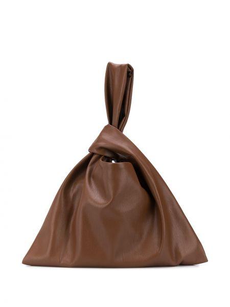Brązowe torba na ramię skorzane Nanushka