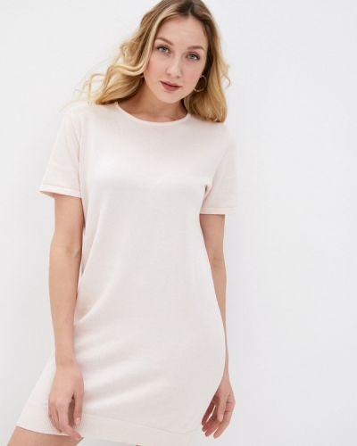 Розовое трикотажное вязаное платье Rodier