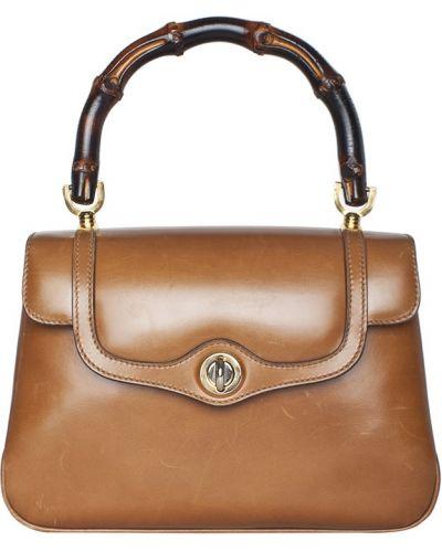 Повседневная кожаная коричневая сумка Gucci Vintage