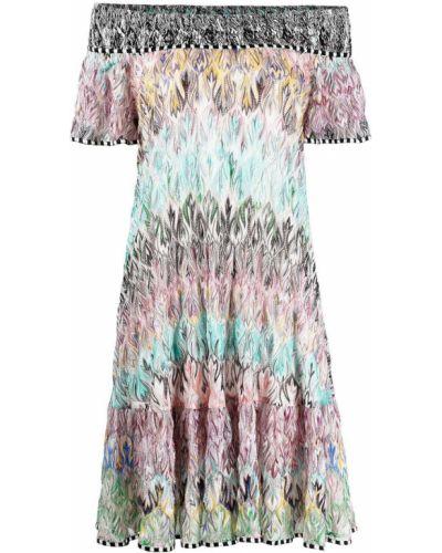 Расклешенное шелковое синее платье Missoni