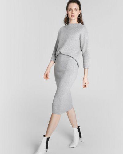 Серая с завышенной талией юбка миди с поясом Ostin