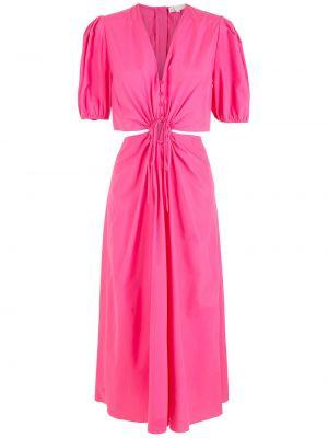 Розовое хлопковое платье миди НК