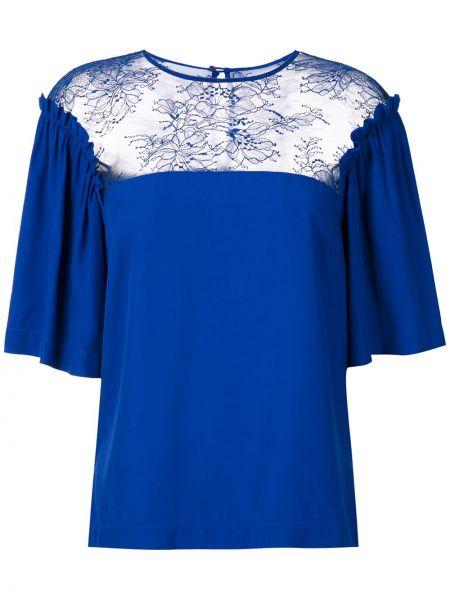 С рукавами кружевная синяя блузка Reinaldo Lourenço