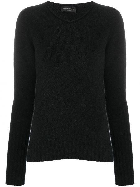 Черный шерстяной вязаный длинный свитер Roberto Collina