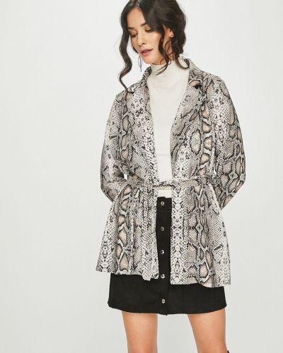 Классический пиджак с поясом серый Answear