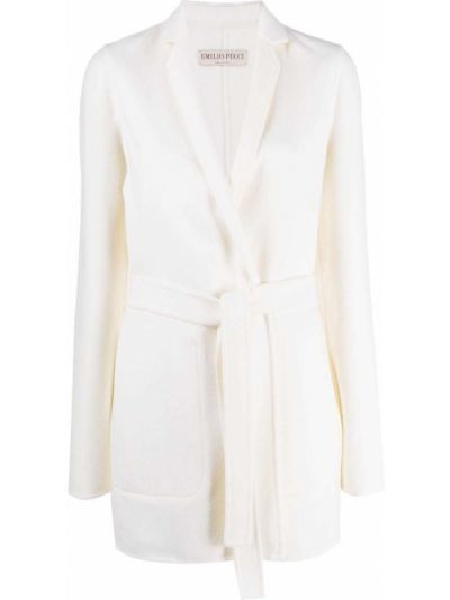 Шерстяное белое длинное пальто с поясом Emilio Pucci