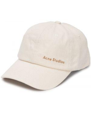 Beżowa czapka z haftem bawełniana Acne Studios