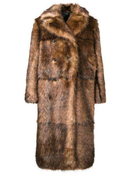 Коричневая пальто классическое из искусственного меха с воротником Kwaidan Editions