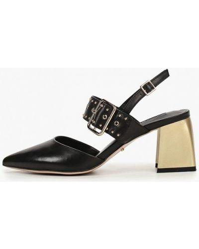 Туфли на каблуке черные кожаные Vitacci