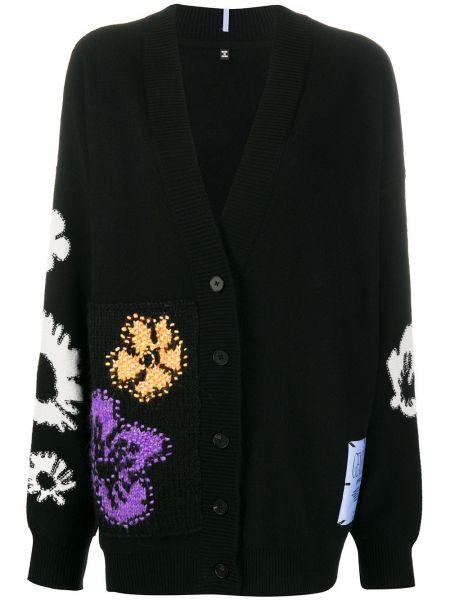 Шерстяной черный кардиган с вышивкой на пуговицах Mcq Alexander Mcqueen