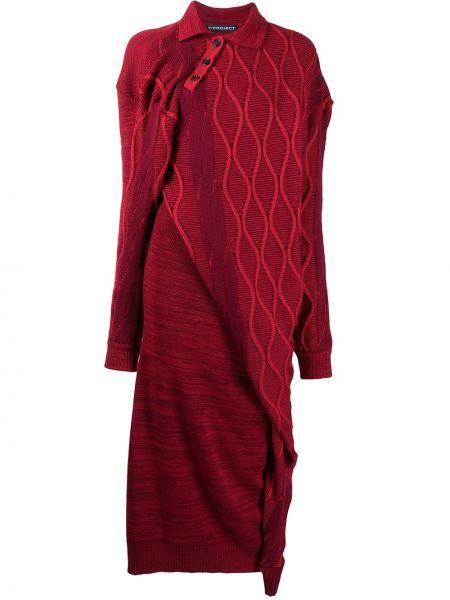 Трикотажное красное платье миди с воротником Y Project