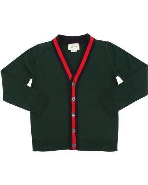 Prążkowany zielony kardigan bawełniany Gucci