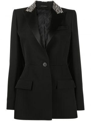 Шерстяной прямой черный удлиненный пиджак Givenchy