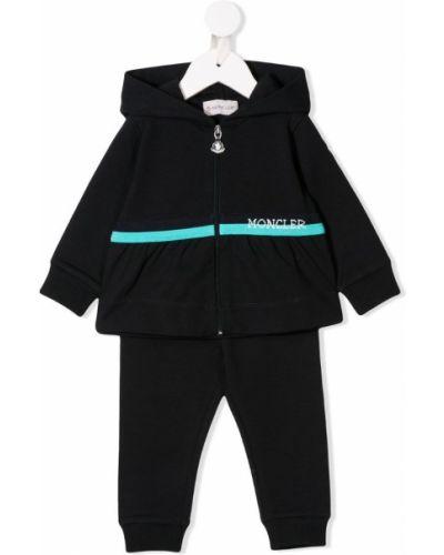Спортивный костюм черный в рубчик Moncler Kids