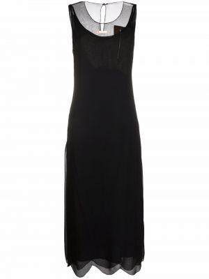 Шелковое платье - черное Maison Margiela