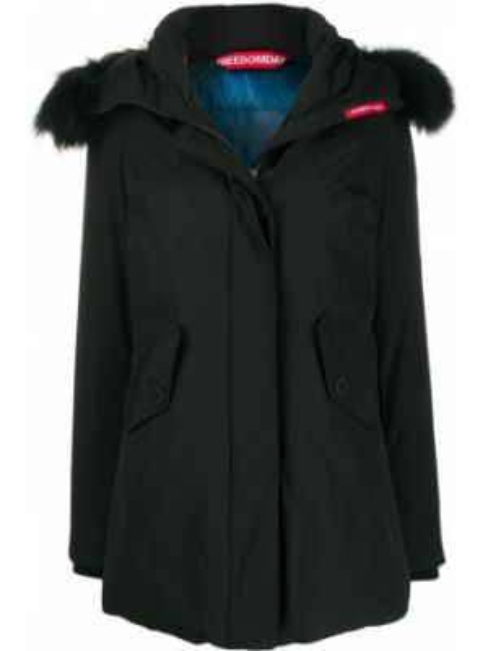 Прямая черная нейлоновая куртка с капюшоном на пуговицах Freedomday