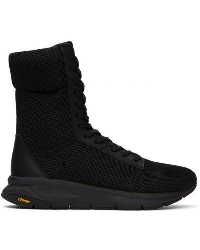 Czarne wysoki sneakersy skorzane sznurowane Yohji Yamamoto