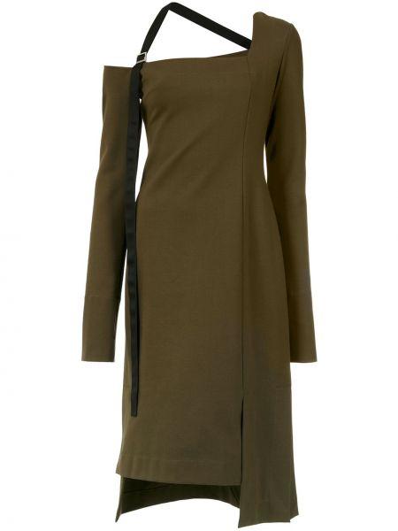 Асимметричное платье миди с длинными рукавами квадратное из вискозы Gloria Coelho